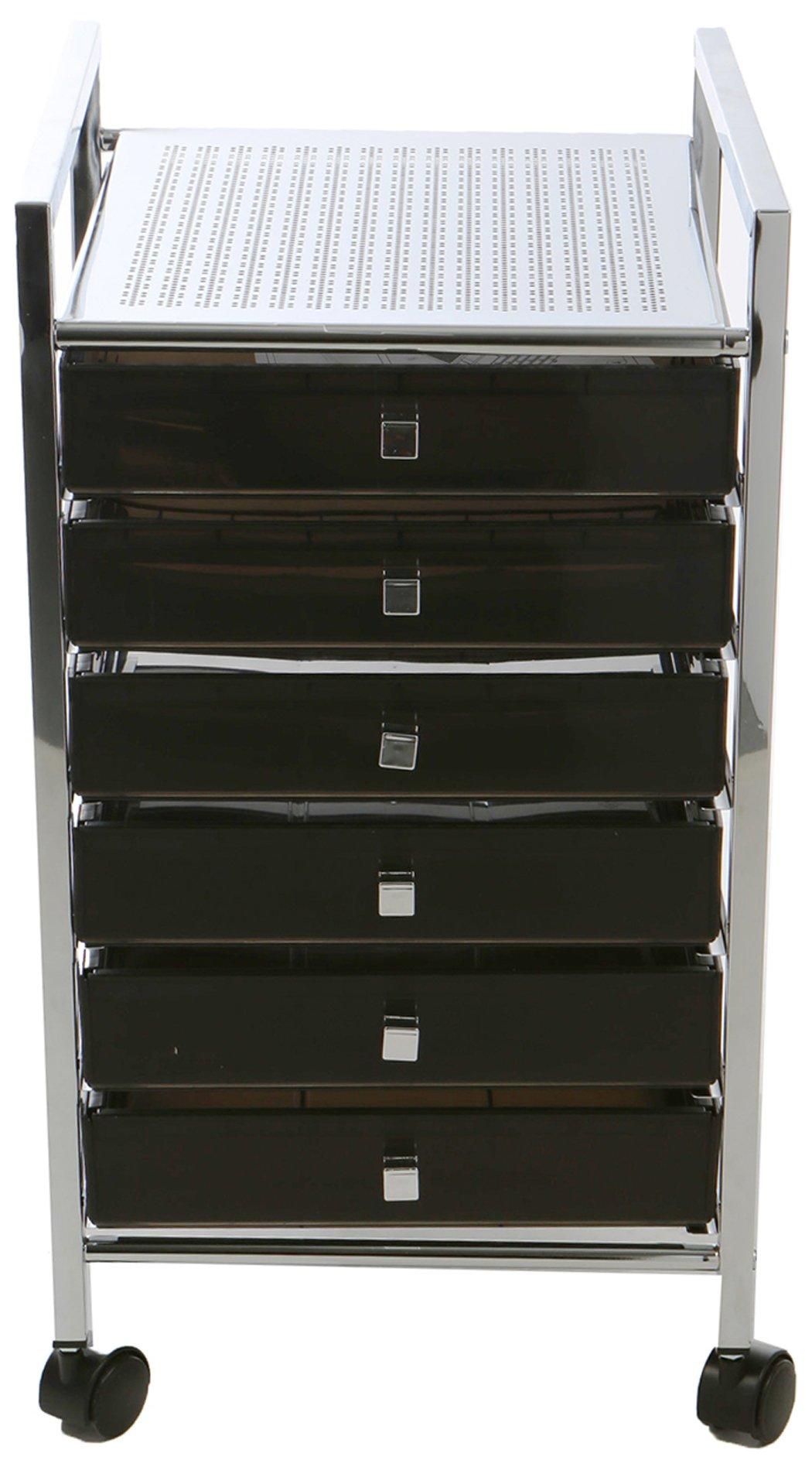 Mind Reader MTROLL6D-BLK Storage Drawer Rolling Utility Cart, Black