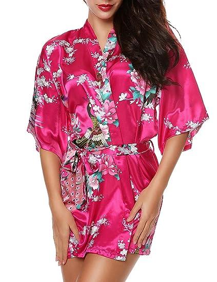 PIN Mujer Vestido Kimono Corto Pijama Bata Satén Estampado Flores Lenceria Albornoz 3/