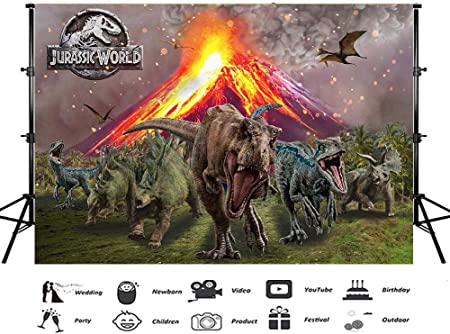 Doodle Abstract Prehistoric World Mountain Trees Photography Backdrop Photo Backdrops Portrait Background Studio Props AM009624 ALUONI 5x3ft Dinosaur Party