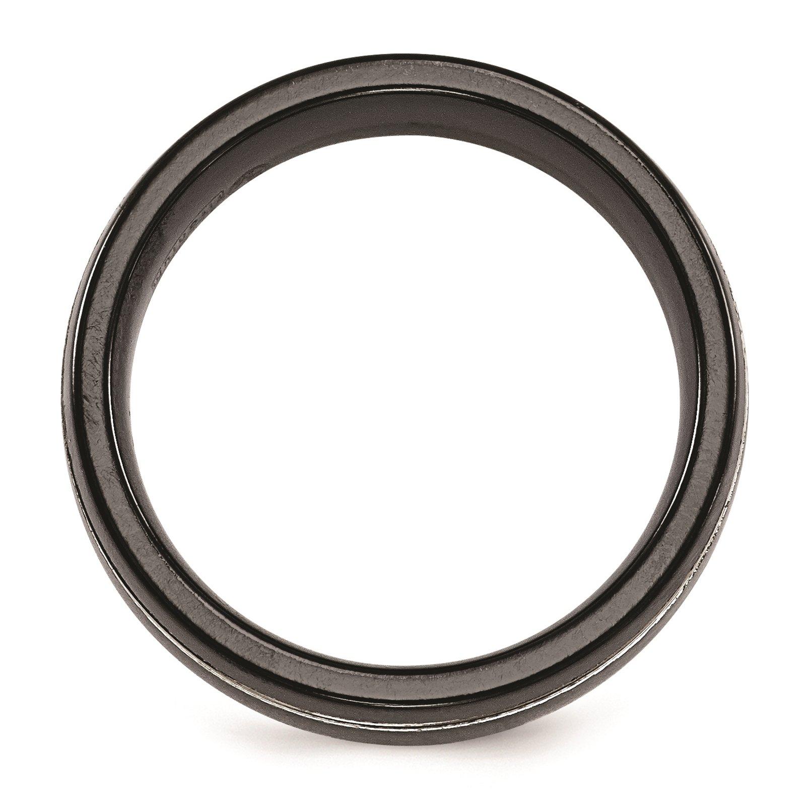 Titanium Black Ti & Grey Grooved 7mm Wedding Ring Band Size 8.5 by Edward Mirell by Venture Edward Mirell Titanium Bands (Image #2)