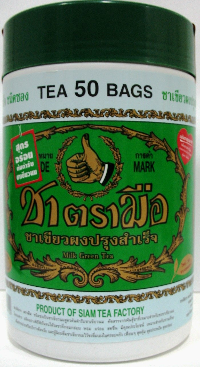 Hand Thai Milk Green Tea Green Lebal 2g. Pack 50 Number One Brand Product of Thailand