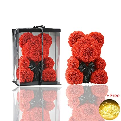 Artificial & Dried Flowers Women Rose Bear Toys Birthday Party Wedding Romantic Doll Anniversary Valentine Gifts Decoration For Girl Friend Regular Tea Drinking Improves Your Health Home & Garden