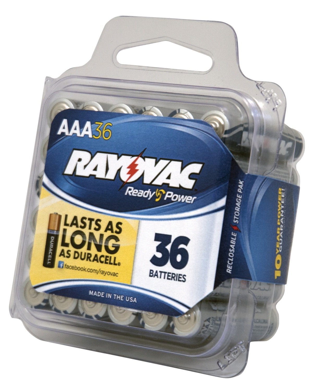 Rayovac 824-36PPF Alkaline AAA Batteries, 36-Pack with Reclose able Lid, 2.75'' Height, 3'' Width