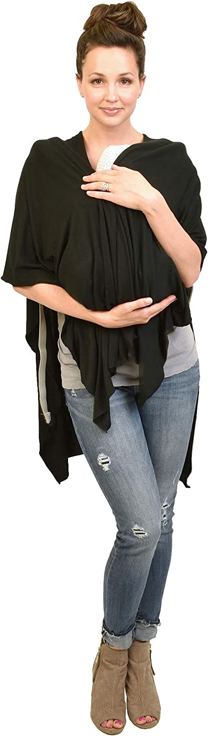 bamboobies Maternity Nursing and Carseat Cover for Breastfeeding Black