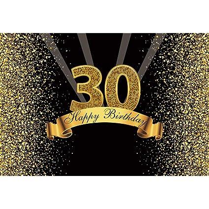 Cassisy 3x2m Vinilo Fondo de Fotografia 30 Feliz cumpleaños Bandera Dorado Lentejuelas Purpurina Los Rayos Muro Negro Telón de Fondo Photo Booth ...