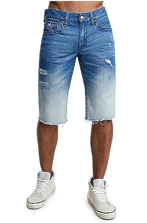 3199999980 True Religion Men's Straight Leg Denim Cut-Off Shorts w/Flaps Rips in Moving
