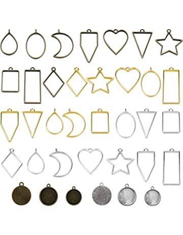 Healifty Kit de Fabricaci/ón de Joyas de Resina con 10 Piezas de Marcos de Madera Colgante 5 Estilos de Colgantes de Bisel Piezas de Madera para Hacer Joyas de Resina Aretes Collares Artesanales