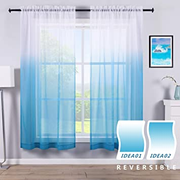 Reversible Ombre Blue Curtains Semi Sheer Curtains for Boys Bedroom Living  Room Little Kids Baby Nursery Nautical Coastal Beach Themed White Light Sky  ...