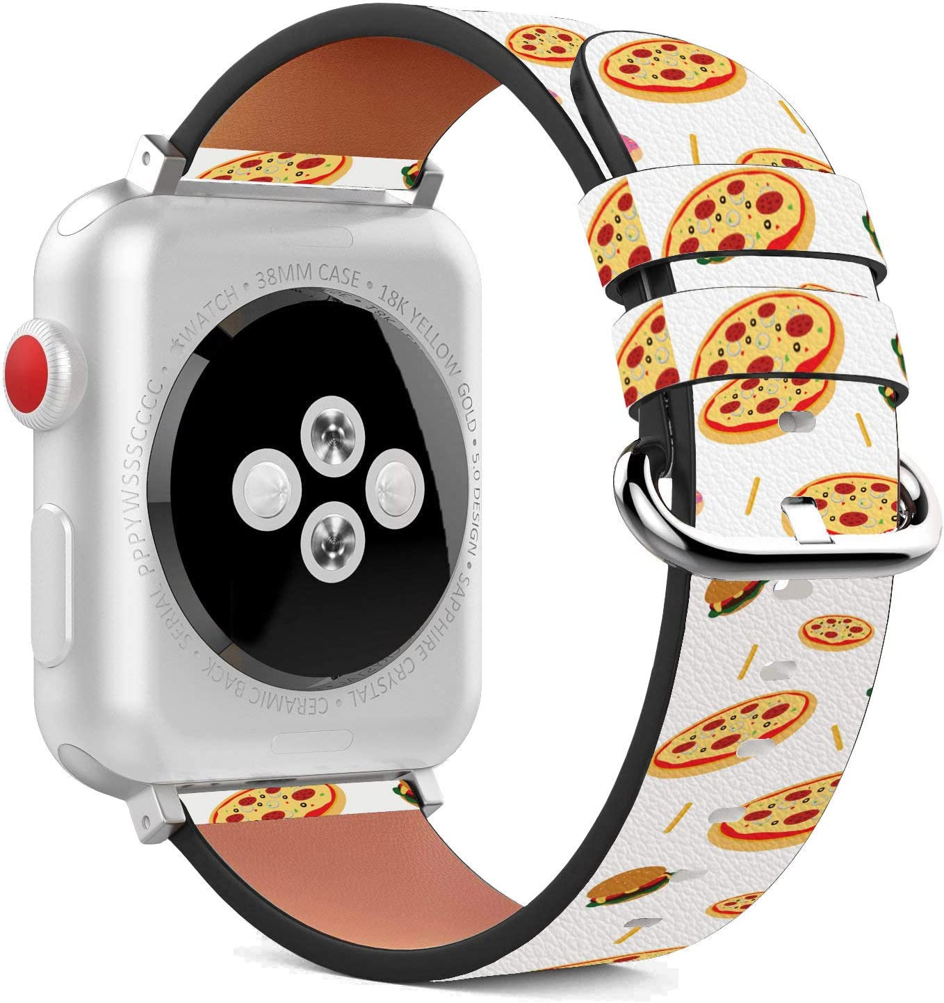 Compatible with Apple Watch - 42mm / 44mm (Serie 5,4,3,2,1) Leather Wristband Bracelet with Stainless Steel Clasp and Adapters - Cheesy Pizza Treat