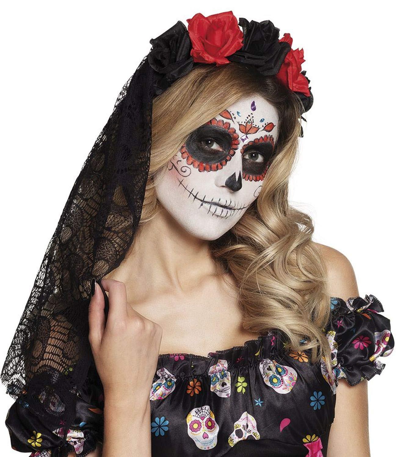 Boland 97064 Pelo Maduro la Rosa Day of The Dead, Color Negro/Rojo: Amazon.es: Juguetes y juegos