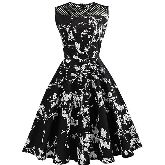 Vestido de mujer, ❤️Xinantime Vestido de oscilación de baile Vestido sin mangas floral de las mujeres del vintage Vestido de fiesta casual de noche: ...