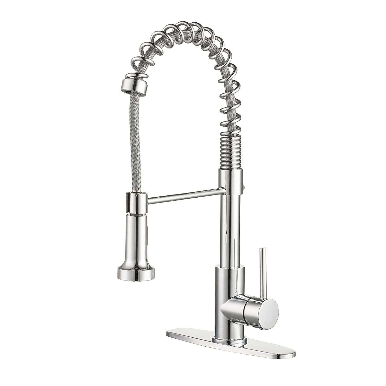 Enzo Rodi Modern Commercial Spring High-arc Lead-free Brass Pull-down Kitchen Sink Faucet with Pull-out Sprayer, Chrome, ERF7358392CP-10