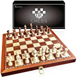 Scientoy Chess Set, Larger 15''×15''Foldable Wooden Chess Set for Kids and Adults, Storage for Piece, Handcraft Travel…
