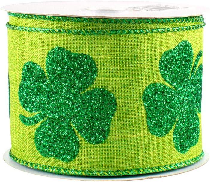 lucky ribbon clover craft ribbon shamrock ribbon 1.5 Clover wired ribbon 20 yards st patricks ribbon leprachaun ribbon Irish ribbon