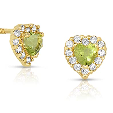a4b386d97 Image Unavailable. Image not available for. Color: Tiny 14k Yellow Gold  Heart Stud Earrings Cubic Zirconia Birth Month with Secure Screw Backs (