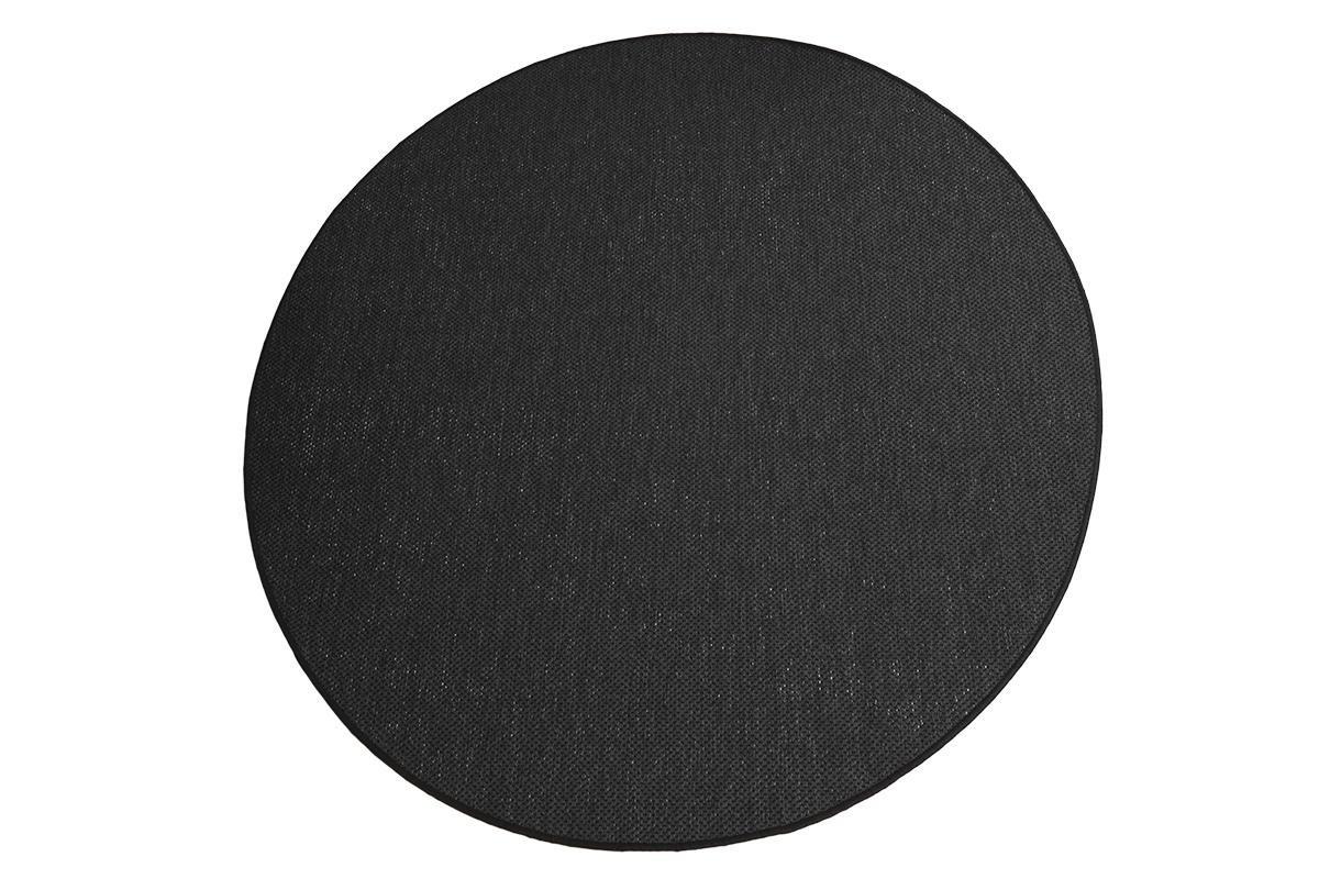 Flachgewebe Teppich Sahara rund - robuste Kunstfaser Sisal-Optik   schadstoffgeprüft pflegeleicht und strapazierfähig  für Wohnzimmer Schlafzimmer Büro, Farbe Schwarz, Größe 180 cm rund