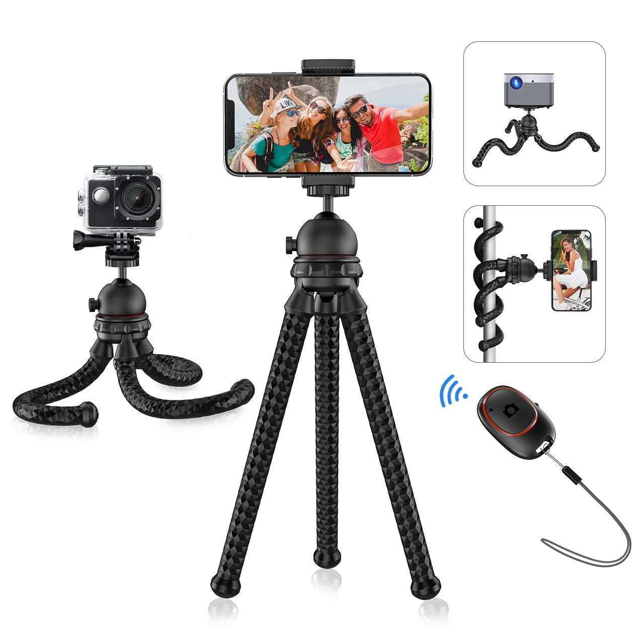 Mpow Phone Tripod, Flexible Camera Tripod with Bluetooth 5.0 Remote Shutter & 360° Rotation, Portable Camera Tripod Stand Compatible with GoPro and Small Camera, Smartphone 11 Pro Max/11/XS/XR/X/8