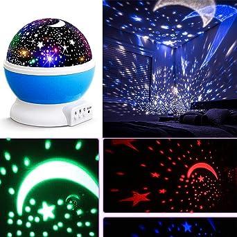 Lámpara de Proyector Rotación Romántica Luz de Noche Luna Estrella ...