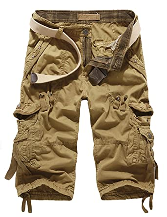 a70270bc2b Panegy Men's Military Style Combat Cargo Shorts With Belt Army Khaki Size 38