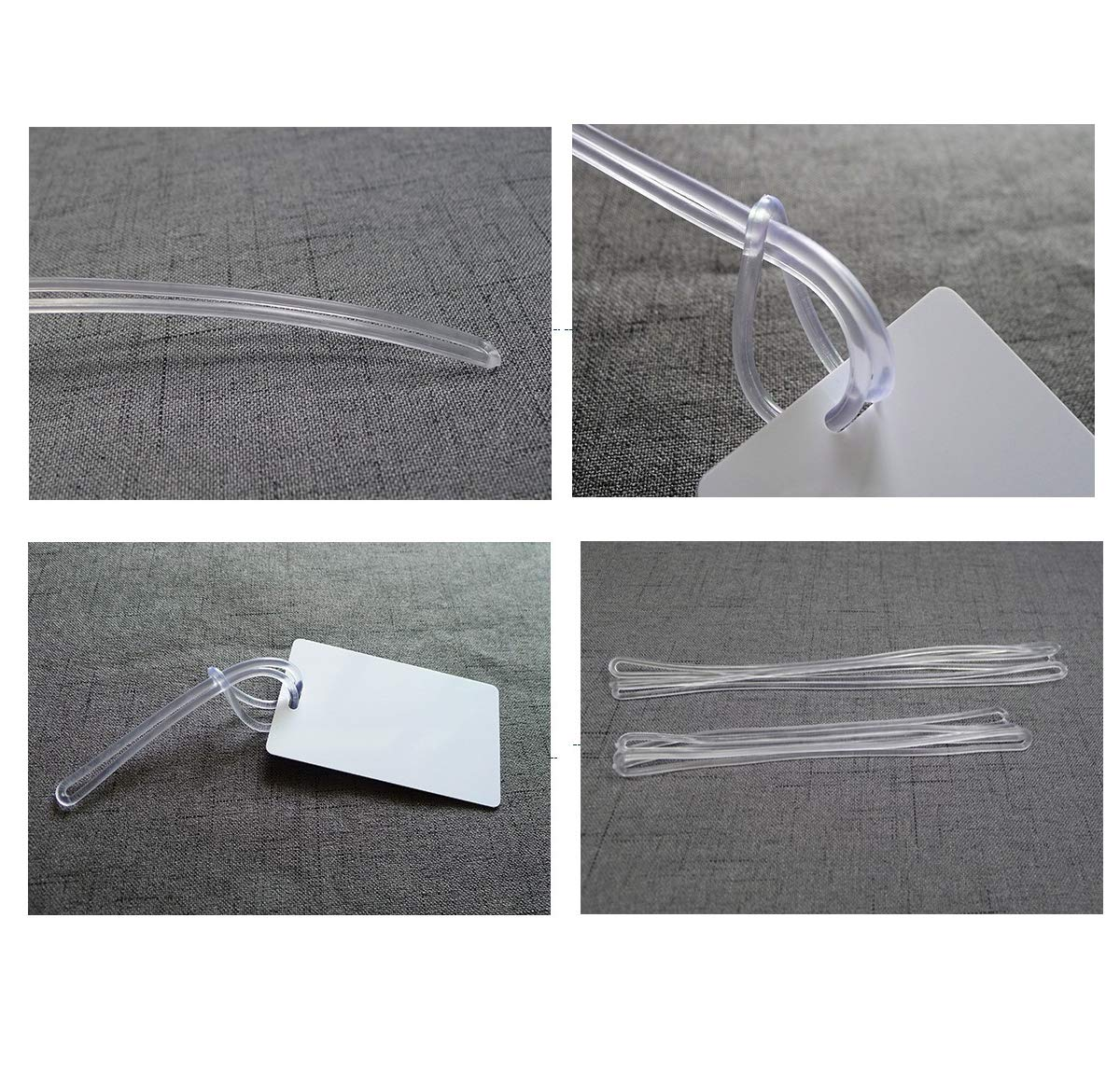 6 inch SBYURE 100 pack Clear Plastic Luggage Loop Straps,Worm Loops for Luggage Tags