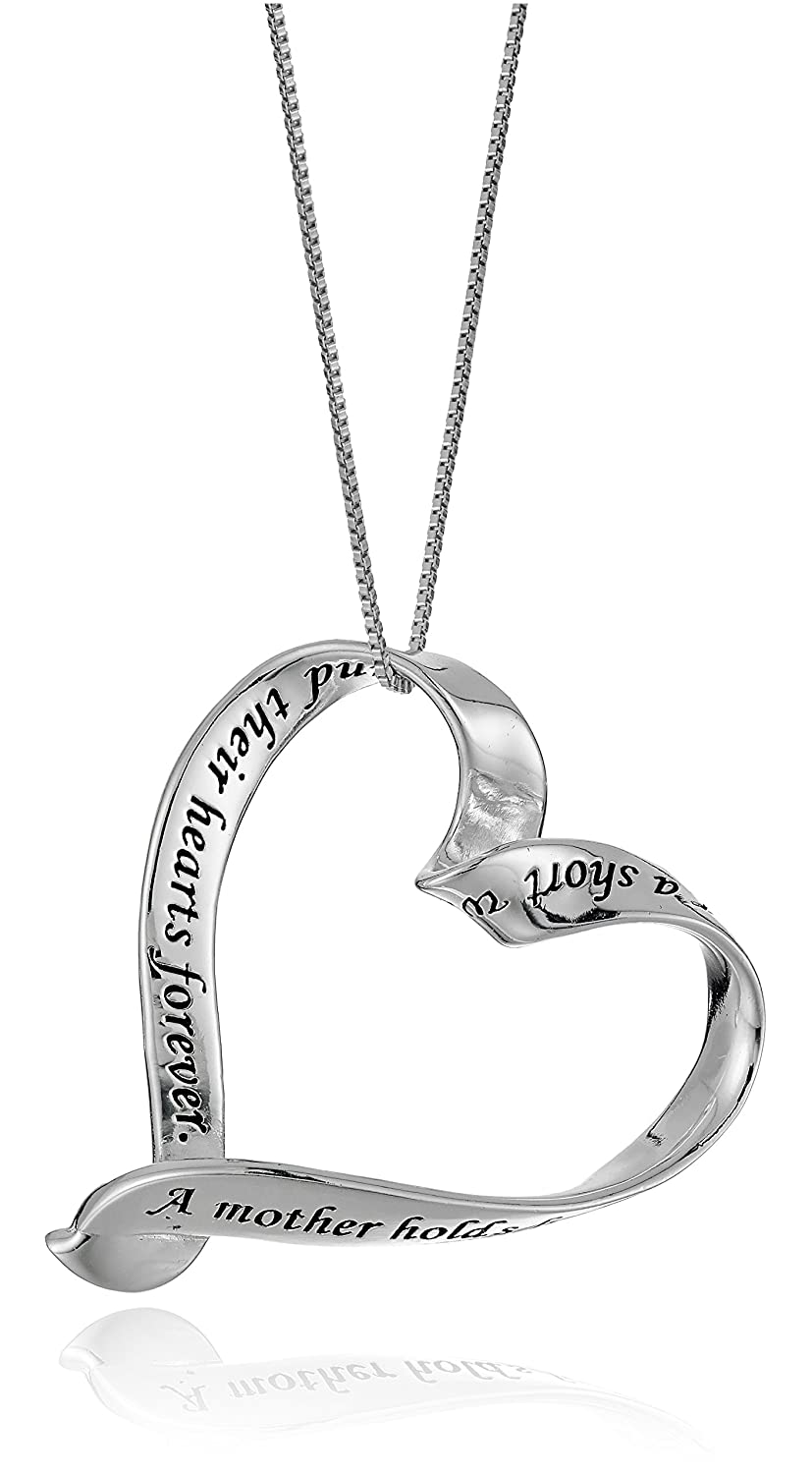 Sterling Silver A Mother Holds Her Child's Hand Ribbon Heart Pendant Necklace 18 Inch