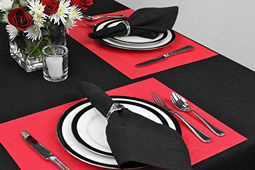 Christmas Tablescape Décor - Black cotton napkins - Set of 6