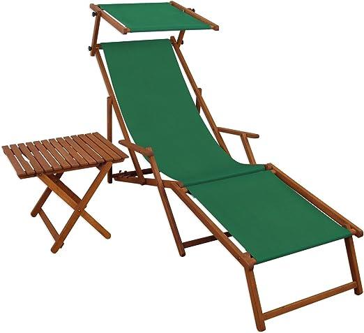 Tumbona verde Tumbona Reposapiés Parasol mesa Tumbona de jardín tumbona playa silla 10 – 304 F S T: Amazon.es: Jardín