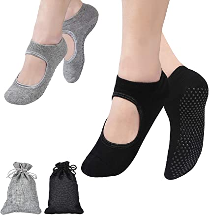 2 paires-Yoga Pilates Barre Ballet antidérapante Couverts Gris La Active Grip Chaussettes