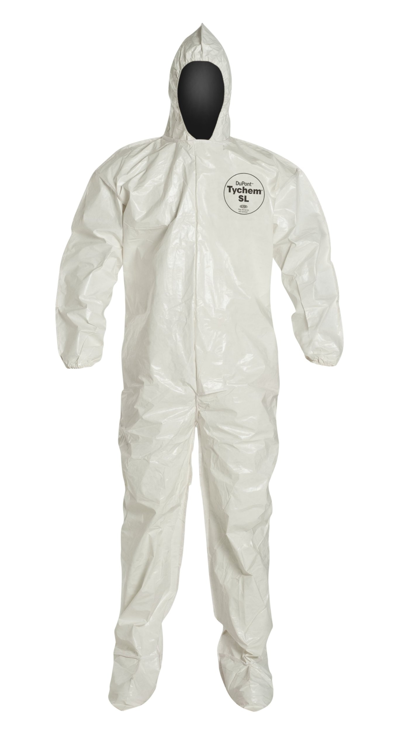 DuPont Tychem 4000 SL122B Chemical Resistant Coverall with Hood and Boots, Disposable, Bound Seams, Elastic Cuff, White, 3XL (Pack of 12)