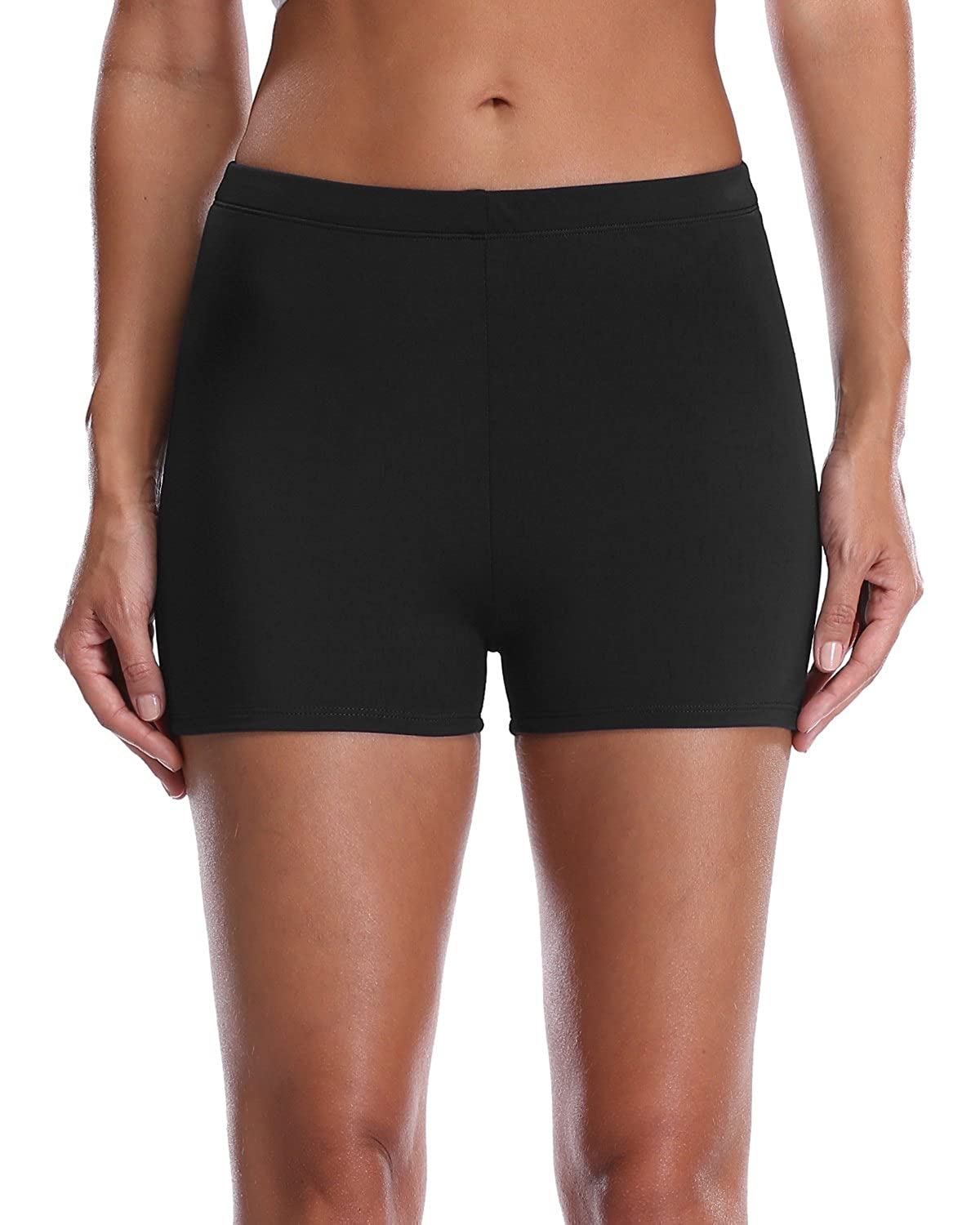 c9c539c3f498f High waist swim shorts and boyleg provide full coverage for smooth body  figure. Full-lined swimsuit bottoms made of stretchy materials ensure  comfortble ...