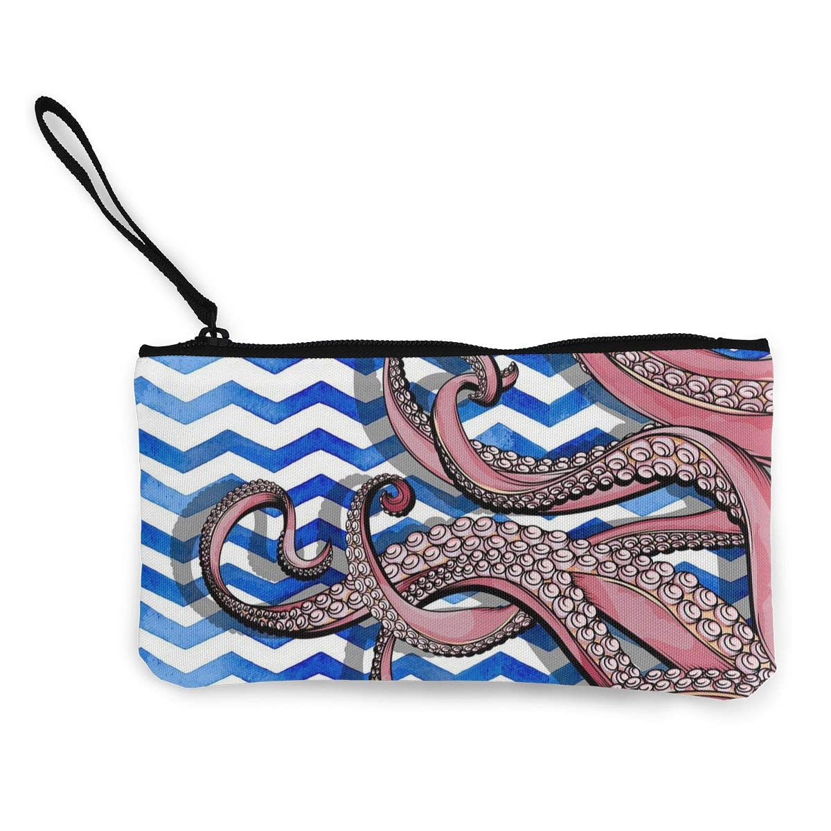 Coin Pouch Octopus Canvas Coin Purse Cellphone Card Bag With Handle And Zipper