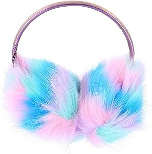 VALICLUD Orejeras de Felpa de Invierno de Piel Sintética de Hadas Cálidas Orejeras para Mujeres Niñas Disfraz Protector de Clima Frío Regalos de Cumpleaños (Azul)