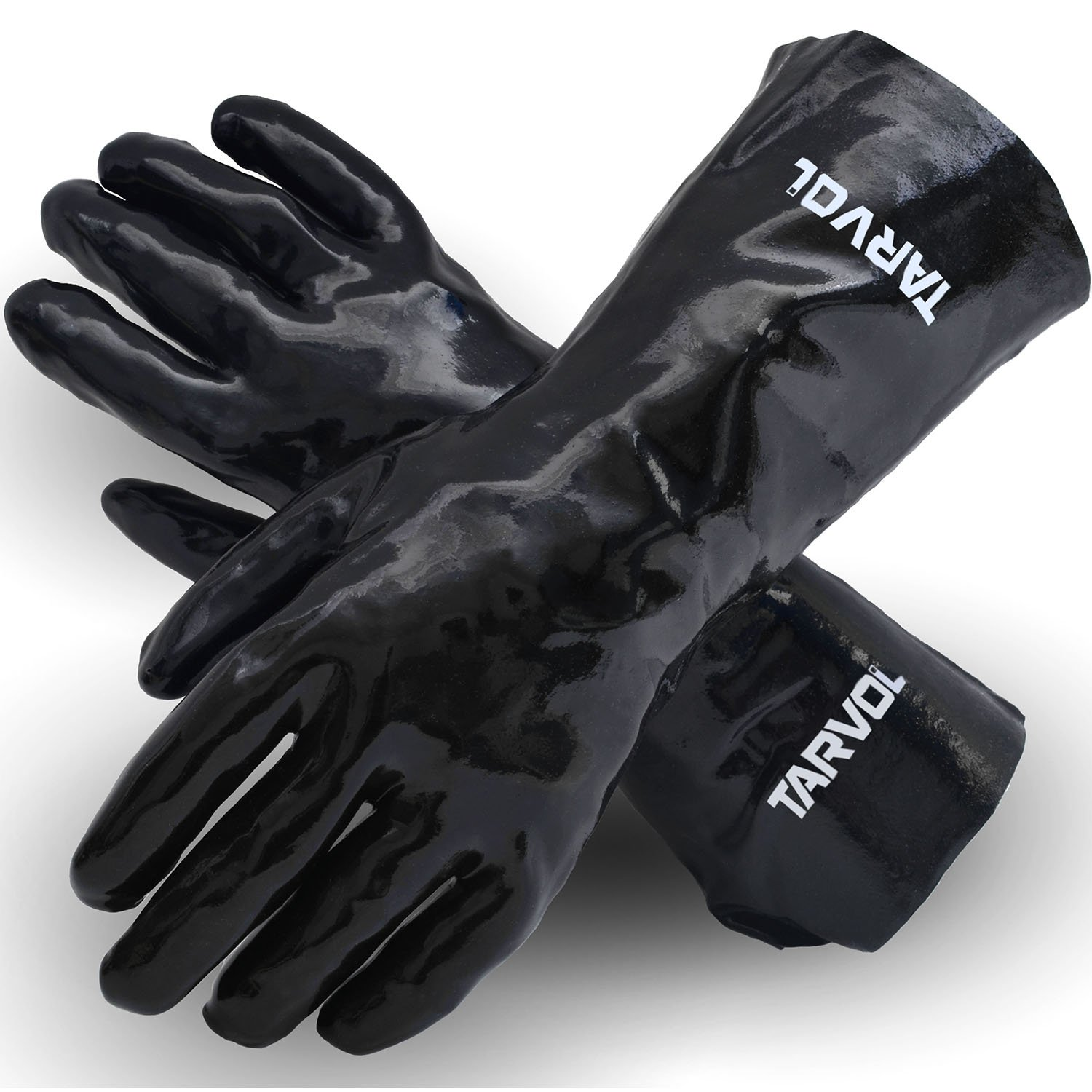 Chemical Resistant PVC Gloves (HEAVY DUTY INDUSTRIAL GRADE) Long Cuff Provides Wrist & Forearm Protection - Perfect for Cleaning and Protection from Acid, Grease, Oil, Lab, Solvents, More!