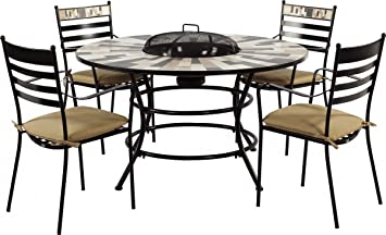Dreams4Home Gartenmöbel Set \'Luke\' - Tisch, Tisch mit Feuerstelle ...