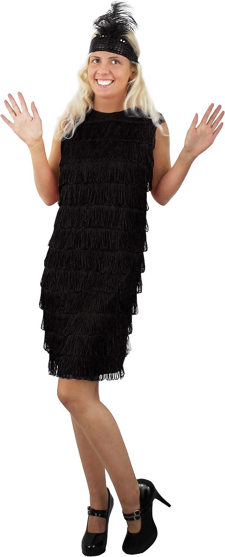 1920/'s Gatsby Black Flapper Dress Headpiece Womens fancy dress costume