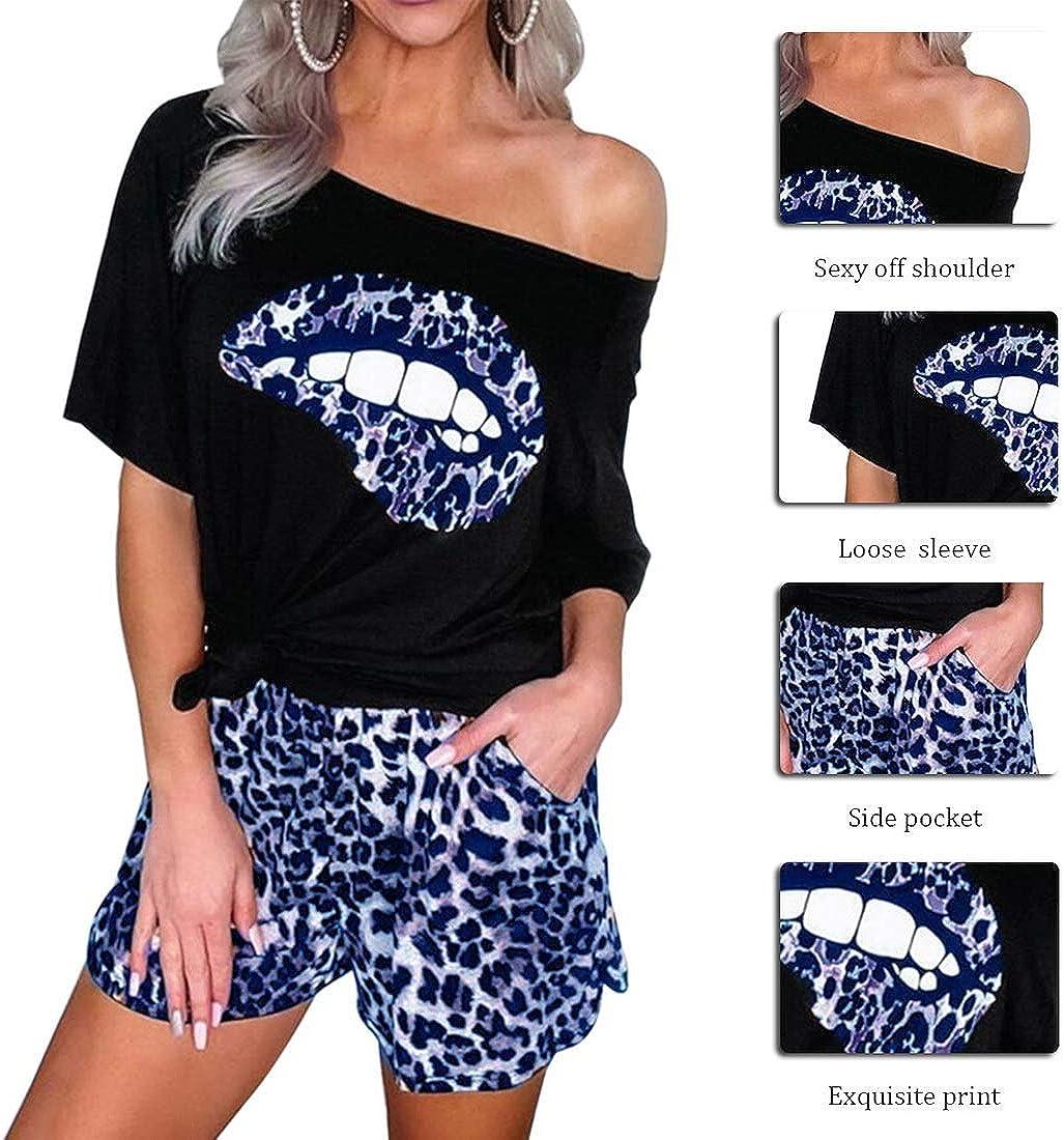 Leopard Shorts Casual Streetwear Jogginganzug OEAK Damen Mode 2 St/ück Set Outfits Sommer Freizeitanzug Kurzarm Schulterfrei T-Shirt mit Lippen Drucken