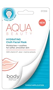 Body Benefits Hydrating Cloth Facial Mask, Ocean-Fresh, 1.47 Ounce; With Vitamin E, Aloe, and Marine Extracts For Smoother Skin; No Mess, No Fuss at Home Hydration; Self Care Through Skin Care