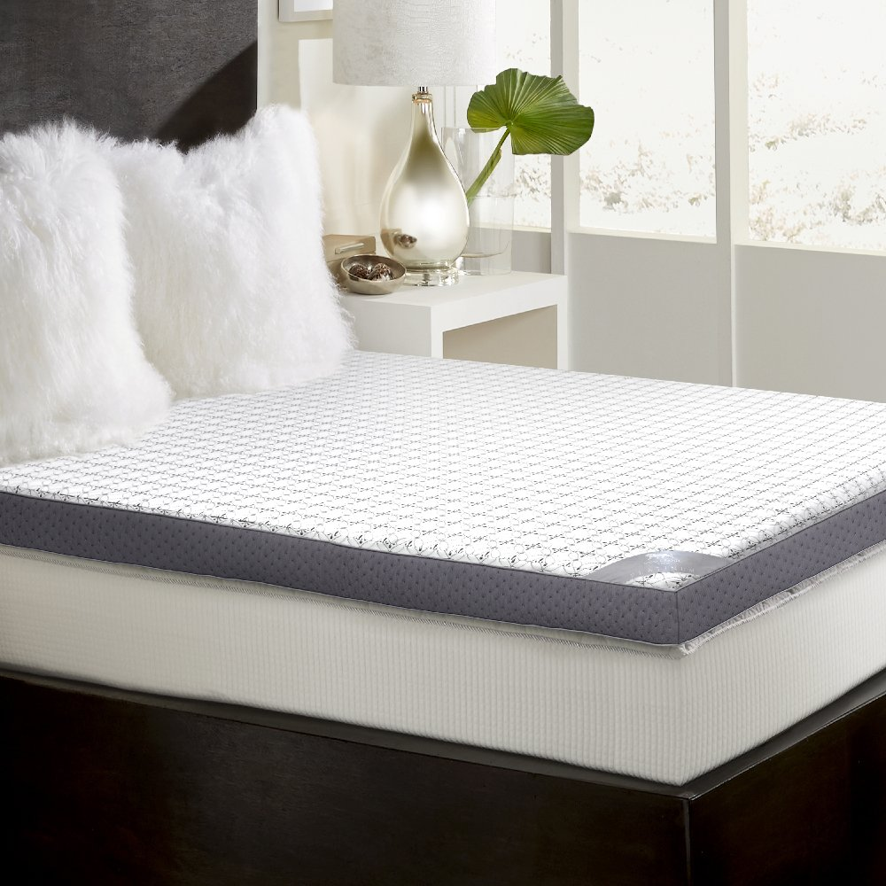 """MGM Grand Hotel at home Platinum Collection 3"""" Memory Foam Mattress Topper with Cover – Soft touch, high density support, hypoallergenic King (King)"""