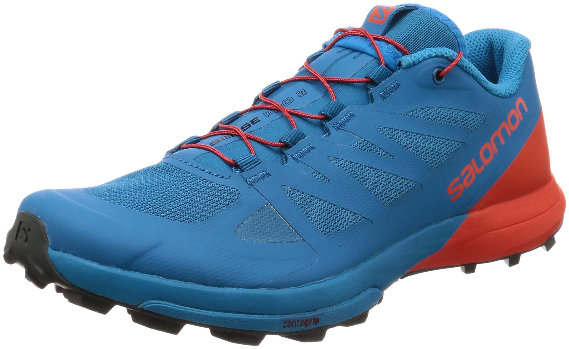 Salomon Men's Sense PRO 3 Sneaker, Fjord Blue/Cherry Tomato/Urban Chic