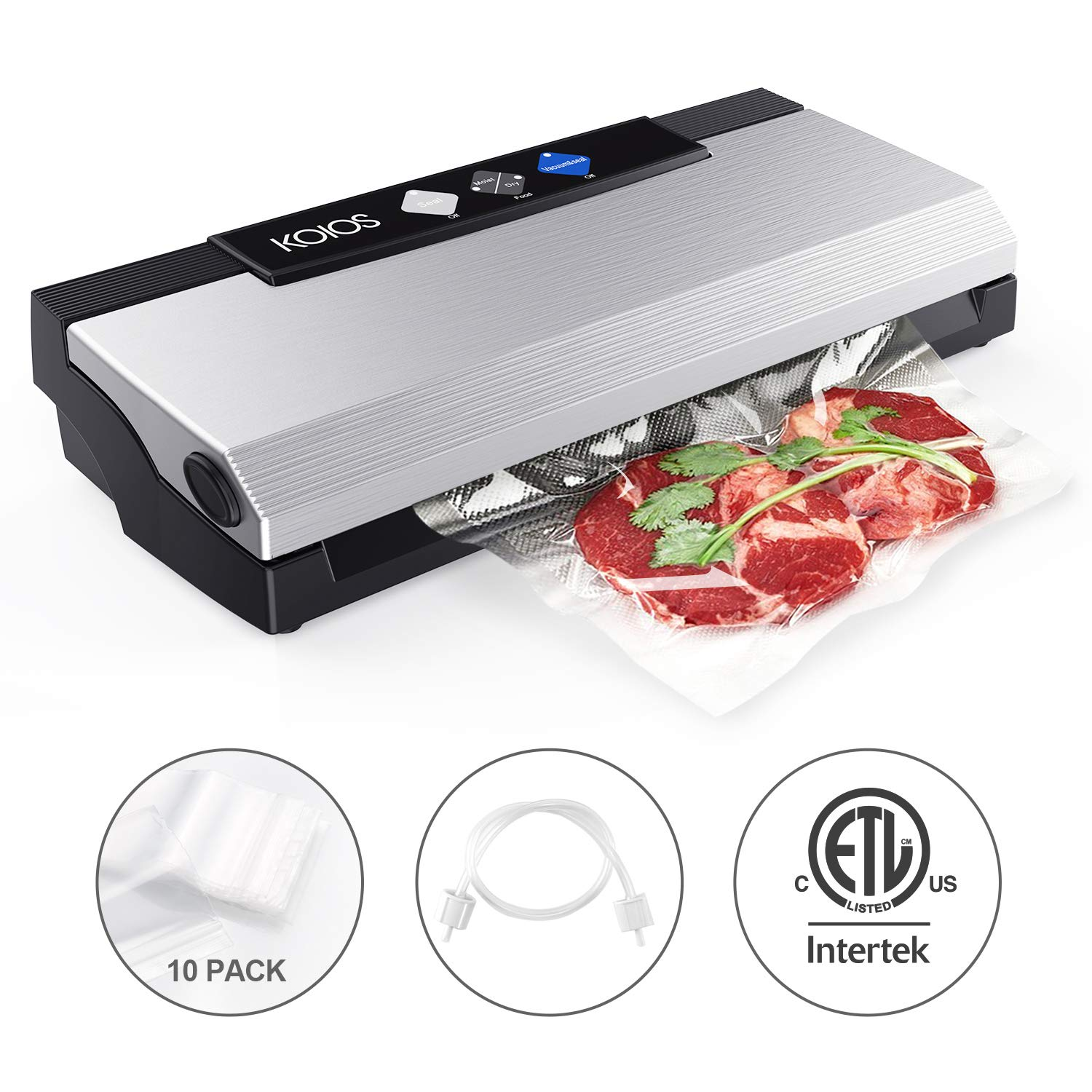 KOIOS Vacuum Sealer Machine, 80Kpa Automatic Food Sealer with Cutter for Food Savers, 10 Sealing Bags (FDA-Certified), With Up To 40 Consecutive Seals, Dry & Moist Modes, Compact Design (Silver) by KOIOS