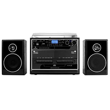 Auna 388-BT Cadena estéreo con Tocadiscos - Tracción por Correa , Bluetooth , 2 Altavoces , Radio , Reproductor CD MP3 , Casete , USB , SD , ...
