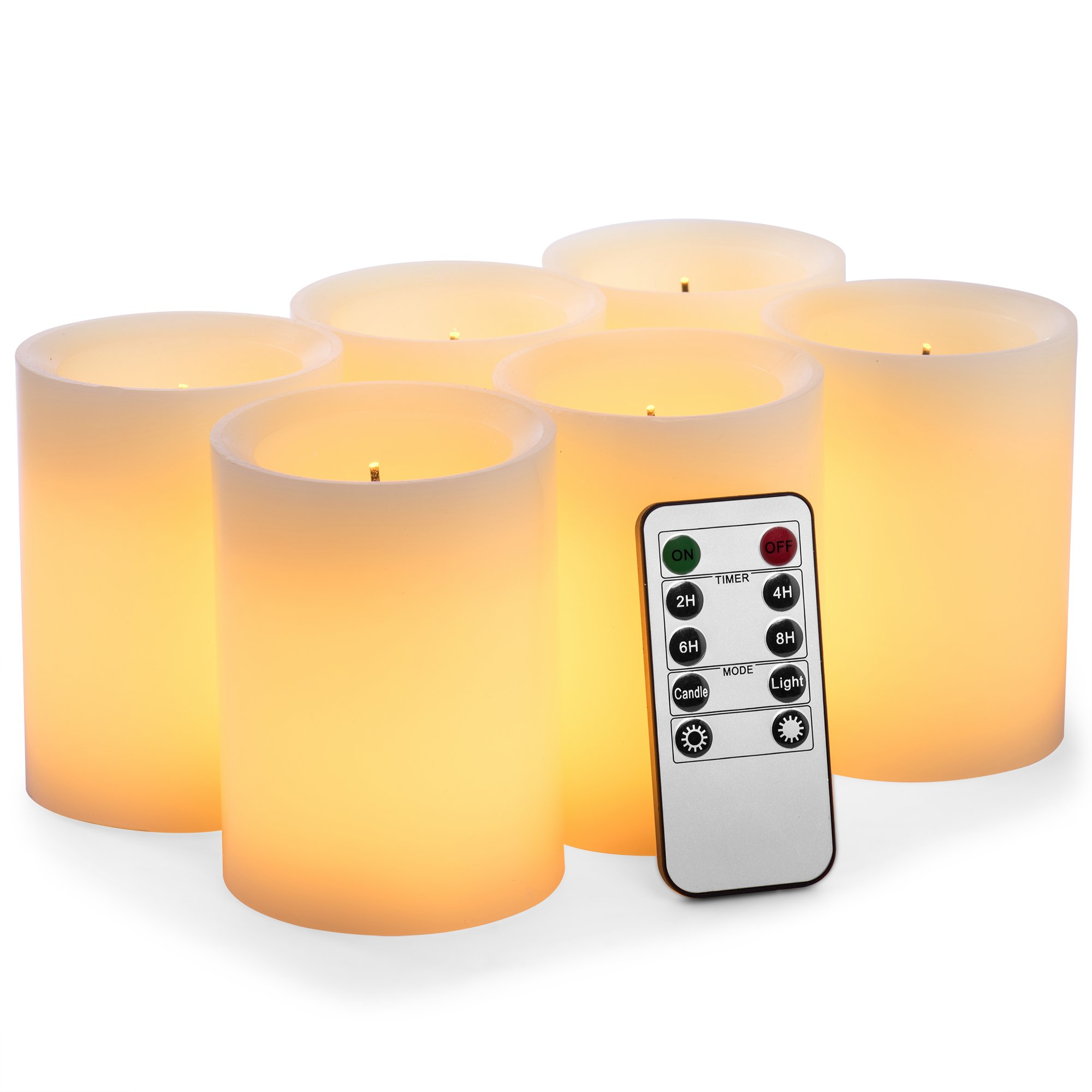 Pandaing Set of 6 Battery Operated Real Wax Pillar Flameless Flickering LED Optical Fiber Wick Candles with 10-Key Remote Control Cycling 24 Hours Timer