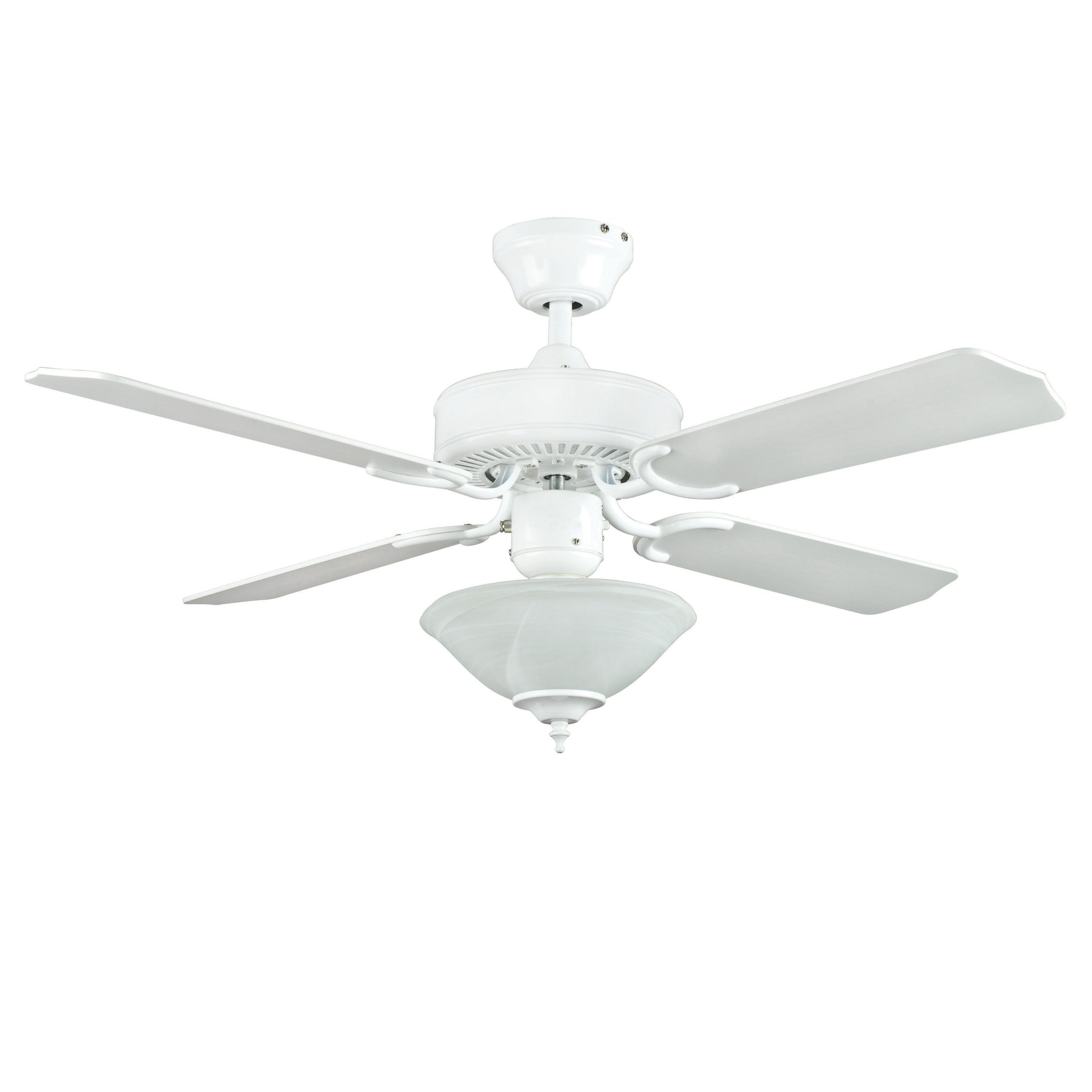 Sunset Lighting CF42877-30-L Ceiling Fan with Alabaster Glass, White Finish