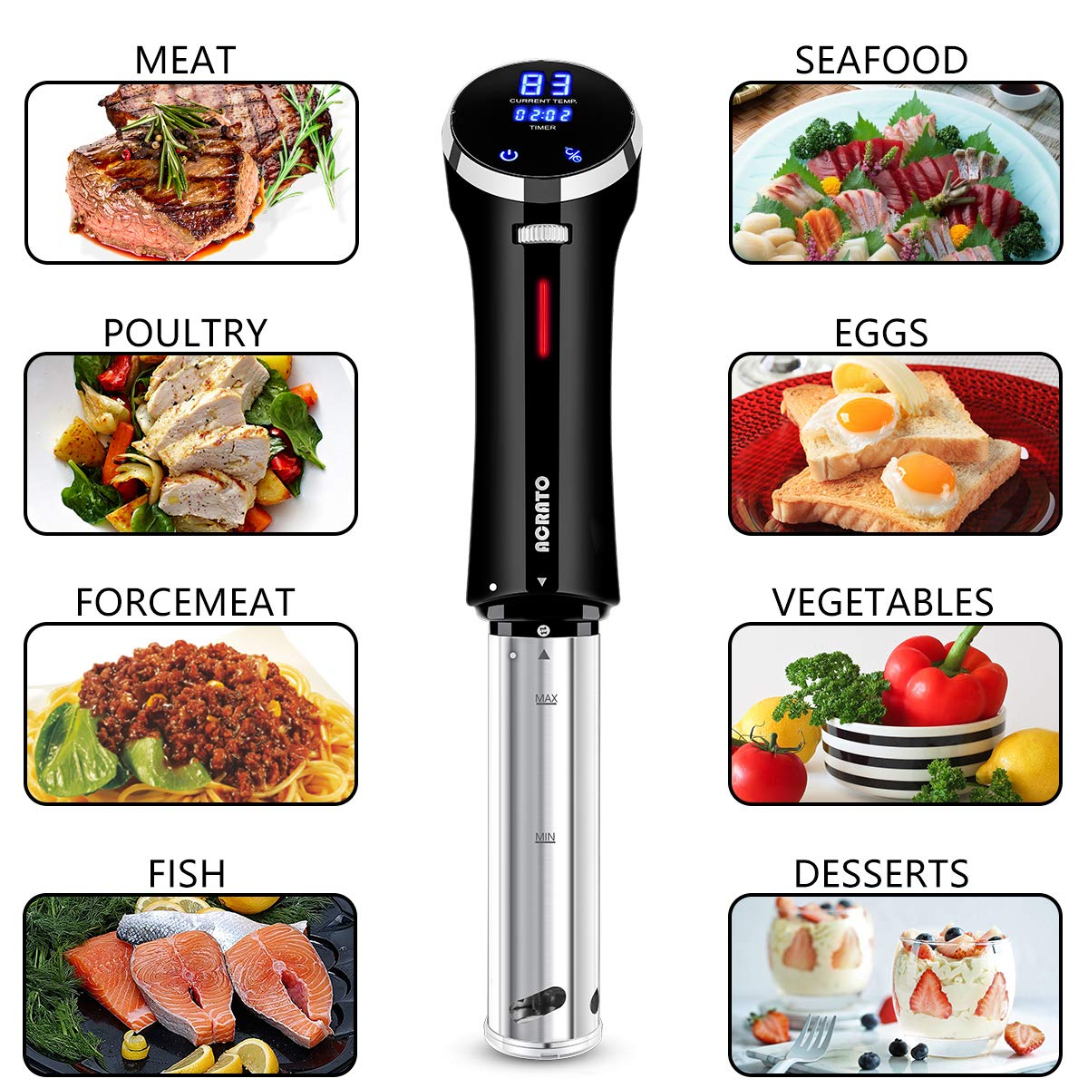 Sous Vide Immersion Circulator, Precise Sous Vide Cooker, ACRATO Portable Kitchen Appliance with Precise Temperature Timer LCD Display , ETL&FDA Approved, 1000 Watts, Stainless, Resuable Free Sous Vide Bags Kits Included, Perfect for Food C