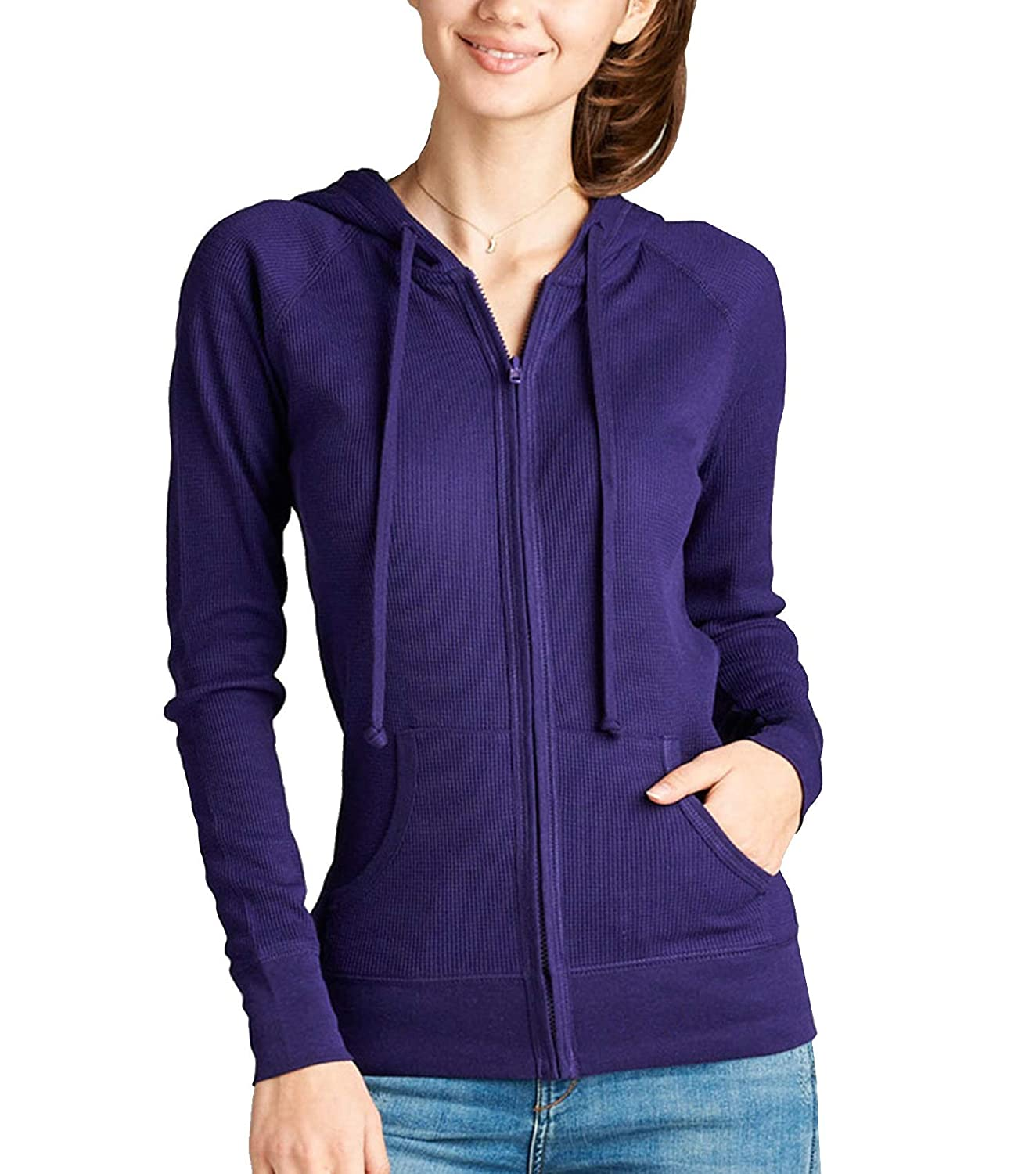 ClothingAve. Women's Basic Solid Long Sleeve Zip up Hoodie Jacket Collection