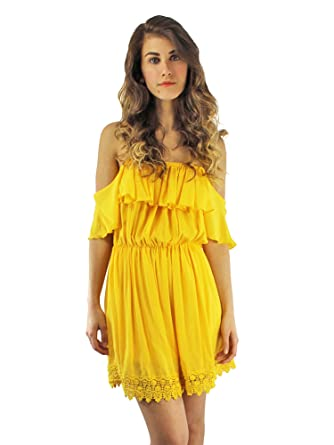 Yellow Strapless Off The Shoulder Dress with Lace Trim at Amazon ... 2970df173