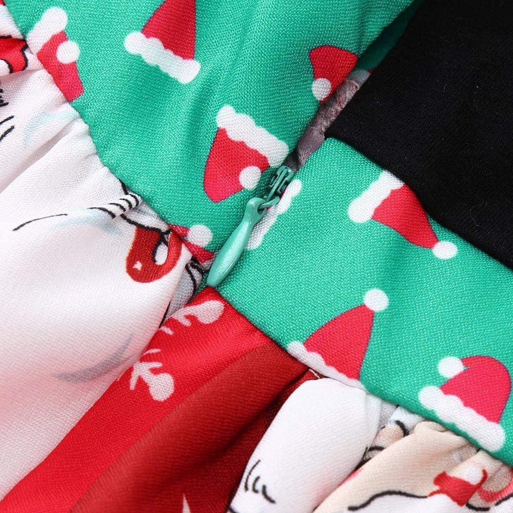 Christmas Baby Dress,Fineser Toddler Kids Baby Girls Sleeveless Cartoon Santa Print Dress Skirt Christmas Dresses Clothes