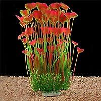 QUMY Large Aquarium Plants Artificial Plastic Fish Tank Plants Decoration Ornament for All Fish (A-Pink)