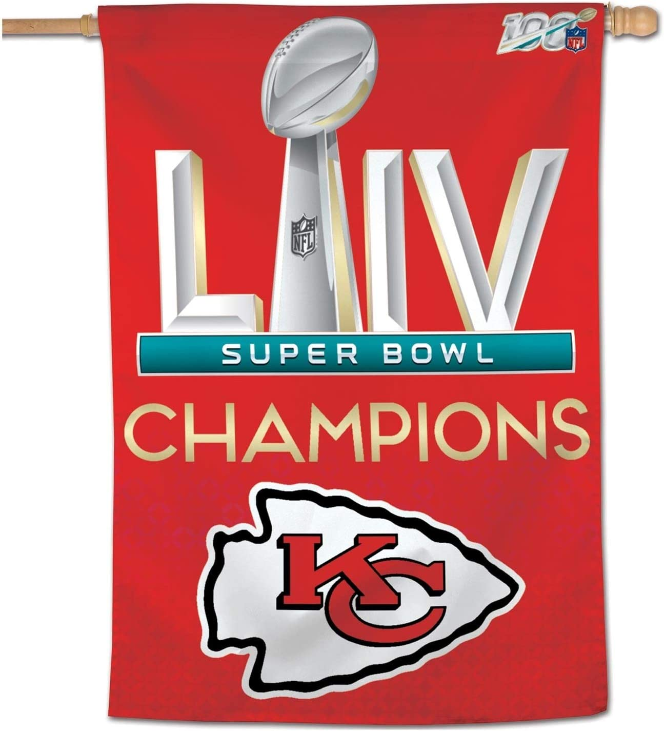 Amazon Com Wincraft Kansas City Chiefs Super Bowl 54 Champs 28 X 40 Banner 1 Sided Vertical Flag Sports Outdoors