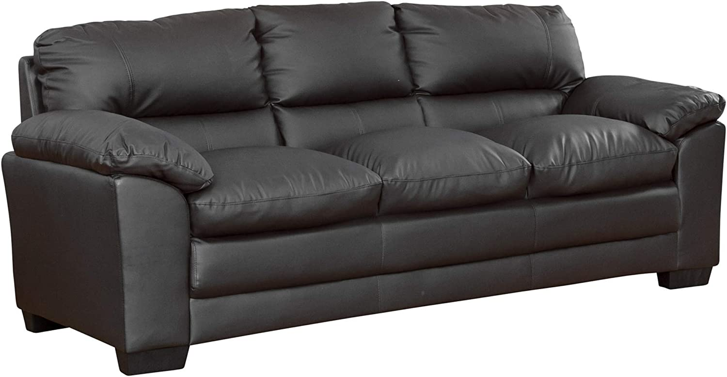 Sofa Collection Black Bonded Leather 3 Seat Sofabed, Felt, 92x214x91 cm